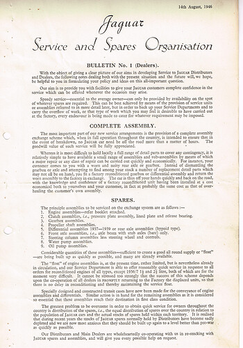 Service BULLETIN No.1 Dealers 14th August, 1946 - p1