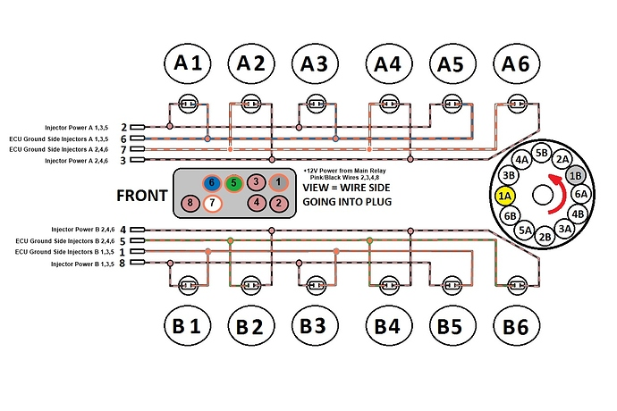 Jaguar V12 HE Standard Injector Harness Diagram