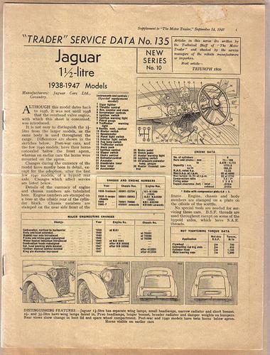 Jaguar 1.5Litre Service Data