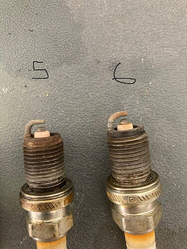 Spark plugs 5 and 6
