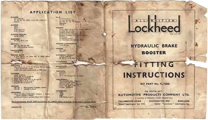 Lockheed brake booster 1a