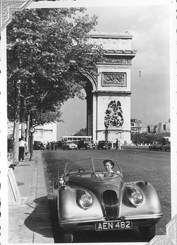XK120 660405 a Leaving Paris by Porte deNeuilly 1953