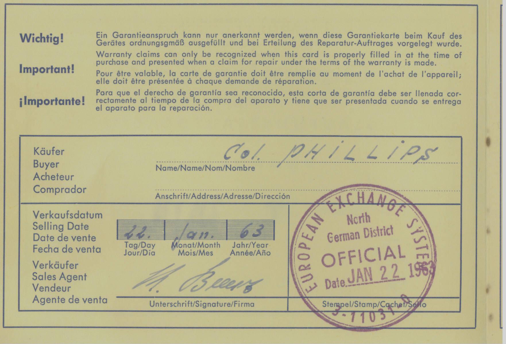 Blaupunkt Auto Radio Warrenty Card (3)