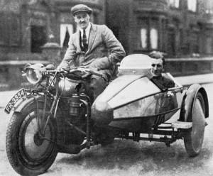 Willam Walmsley on motorcycle William Lyons in sidecar