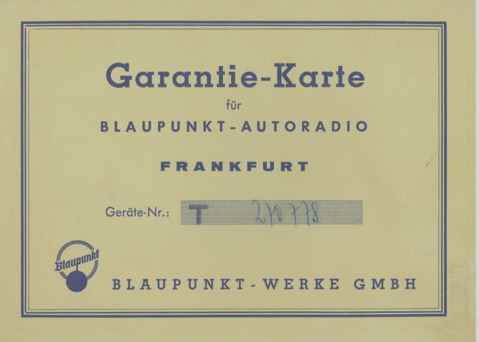 Blaupunkt Auto Radio Warrenty Card