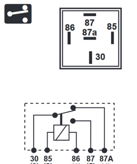can you please help me cross reference with the original wiring diagram and  metal canister relay with c1, c2, w1? new plastic relay: 30 = 85 = 86 = 87 =